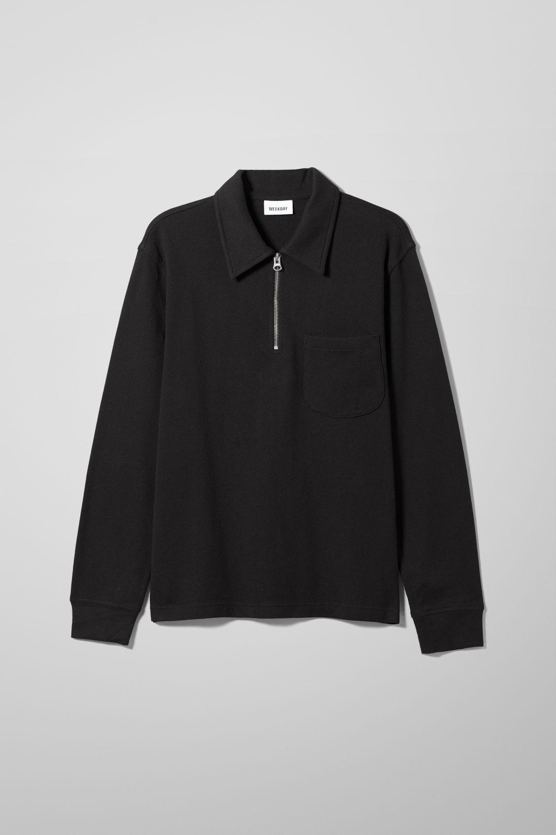Simon Half Zip Long Sleeve - Black