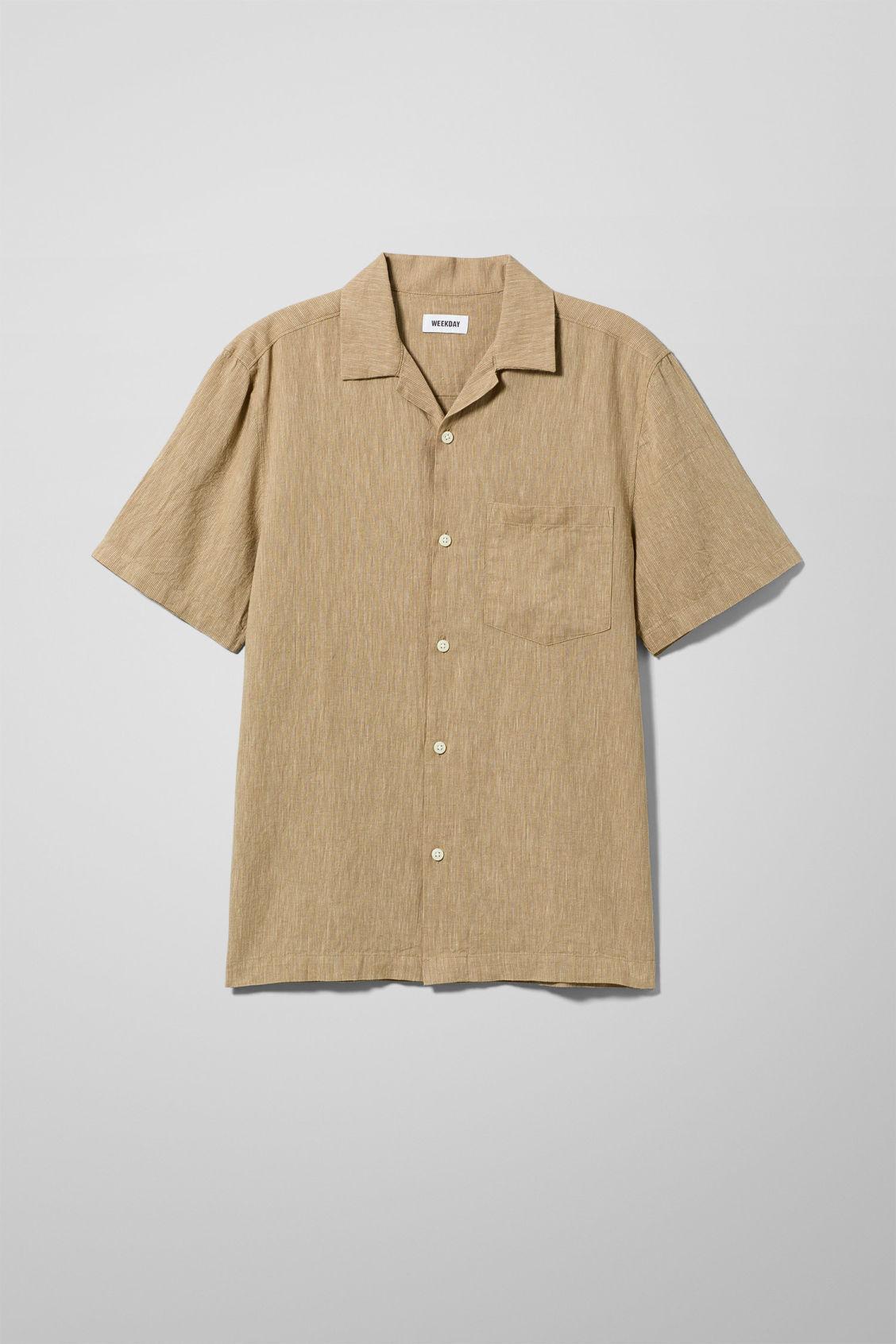 Chill Striped Short Sleeve Shirt - Beige
