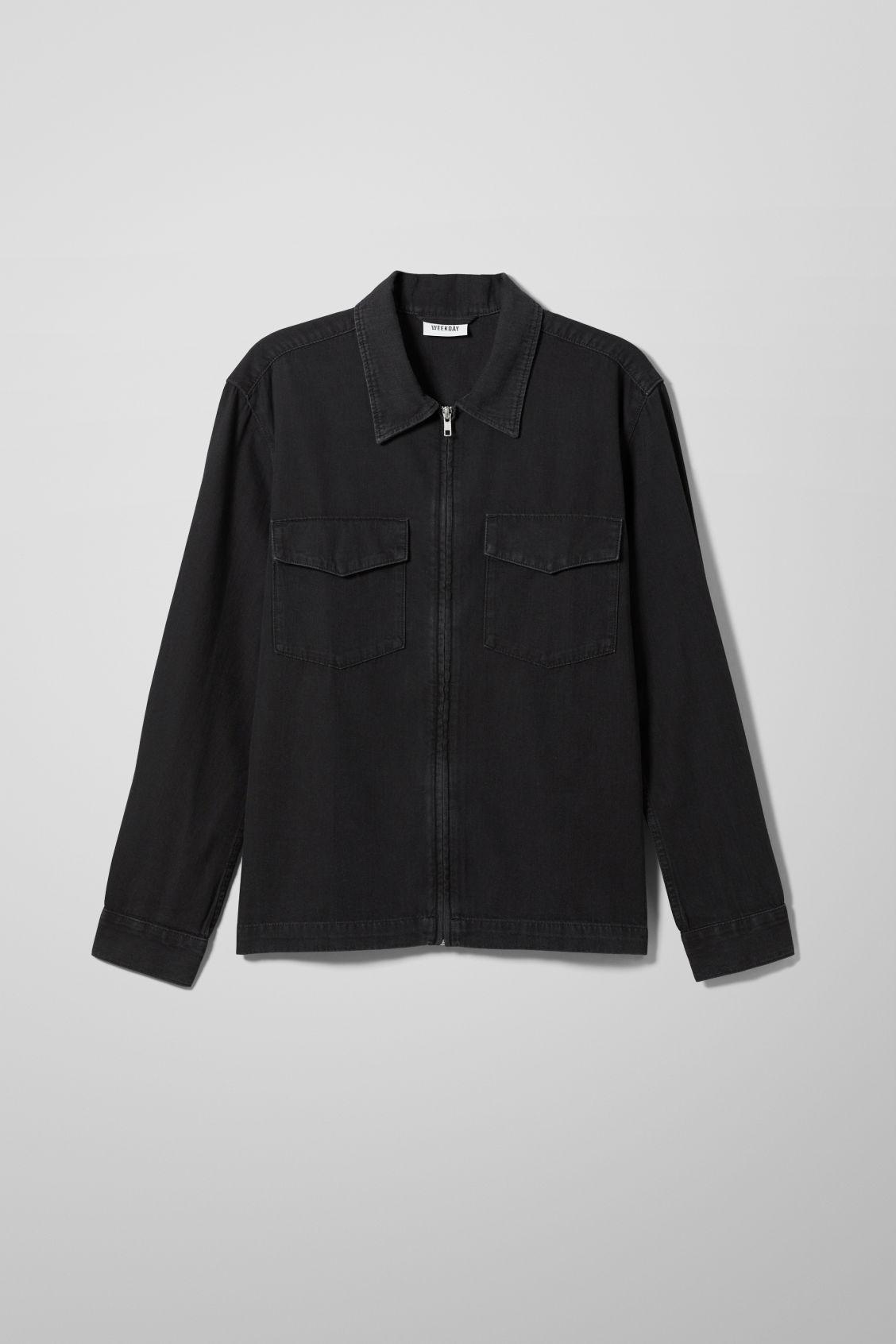 Eden Zip Washed Black Denim Shirt - Black