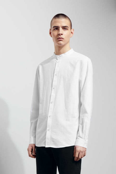 Shirts categories men weekday for Collarless white shirt slim fit