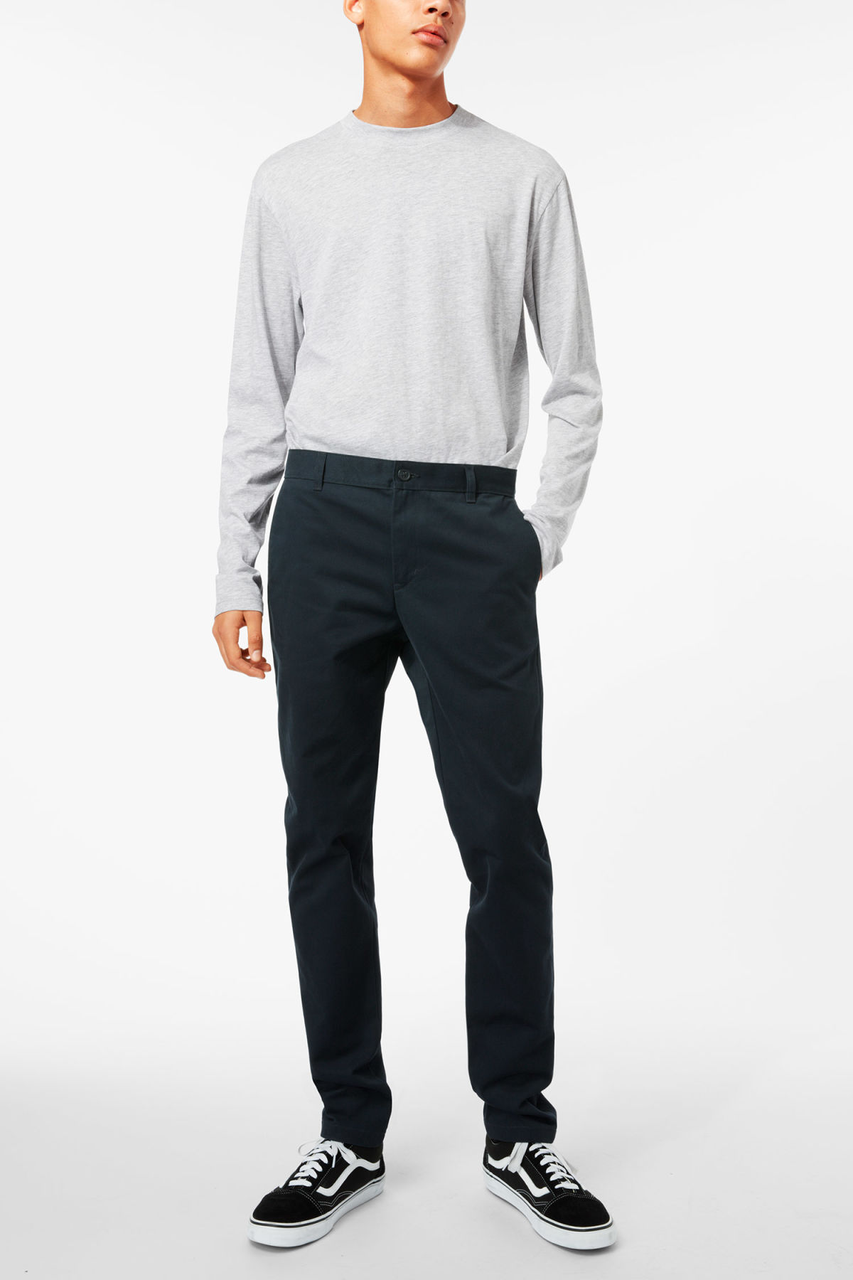 Model front image of Weekday wood chinos in blue