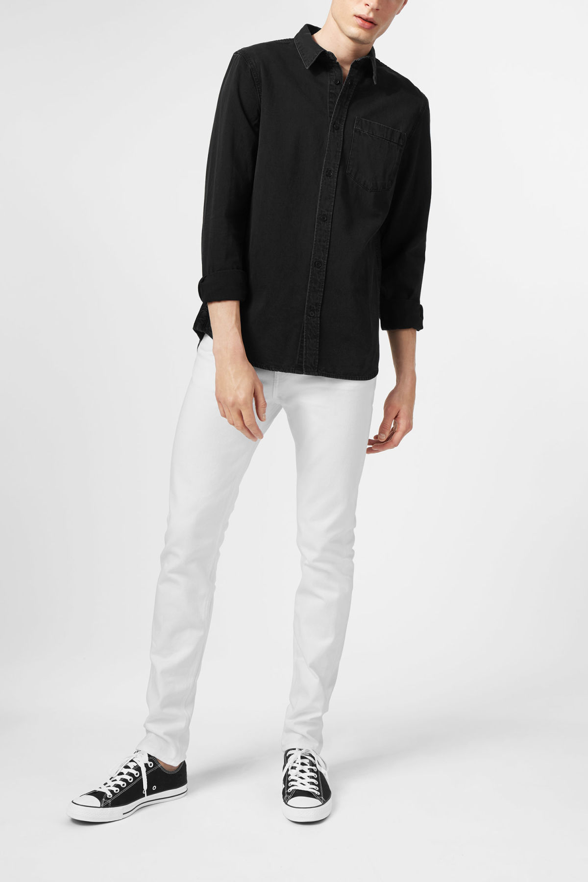 Model side image of Weekday class shirt in black