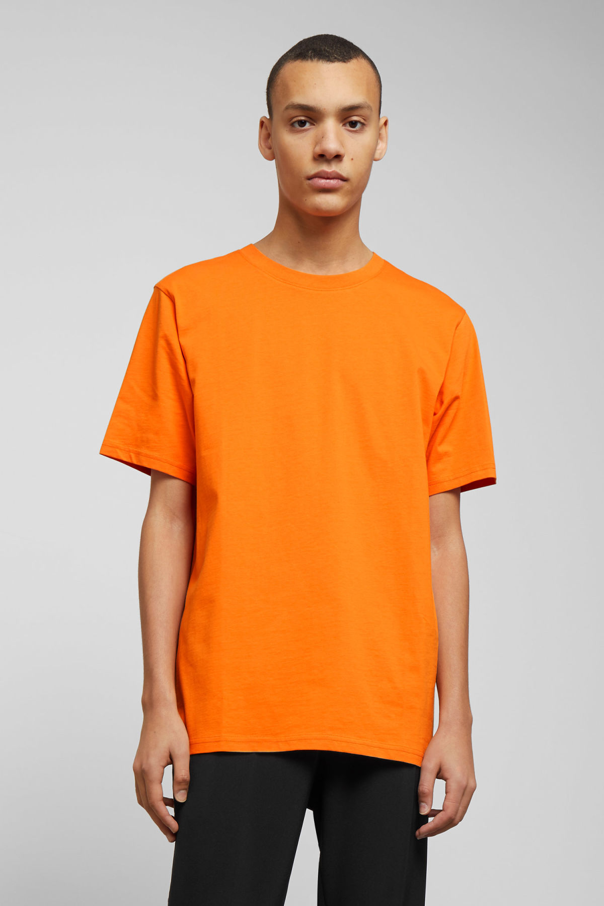 Model front image of Weekday frank t-shirt in orange