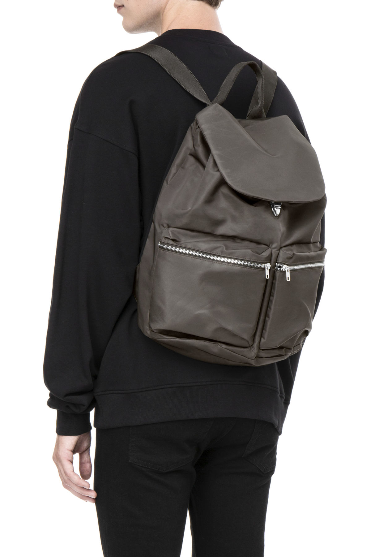 Model front image of Weekday pocket backpack in green
