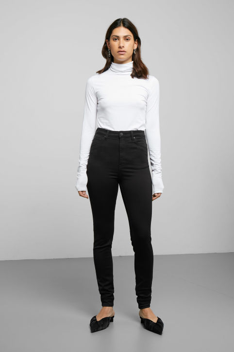 Weekday Body High Satin Black Jeans