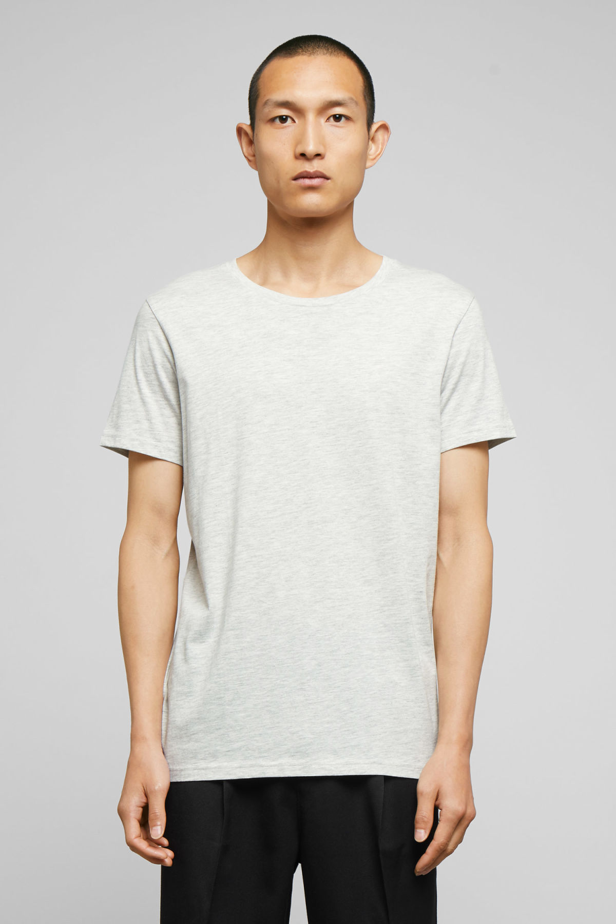 Model front image of Weekday alex t-shirt in brown