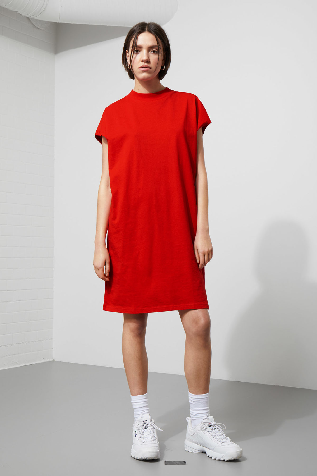Model front image of Weekday prime dress in red