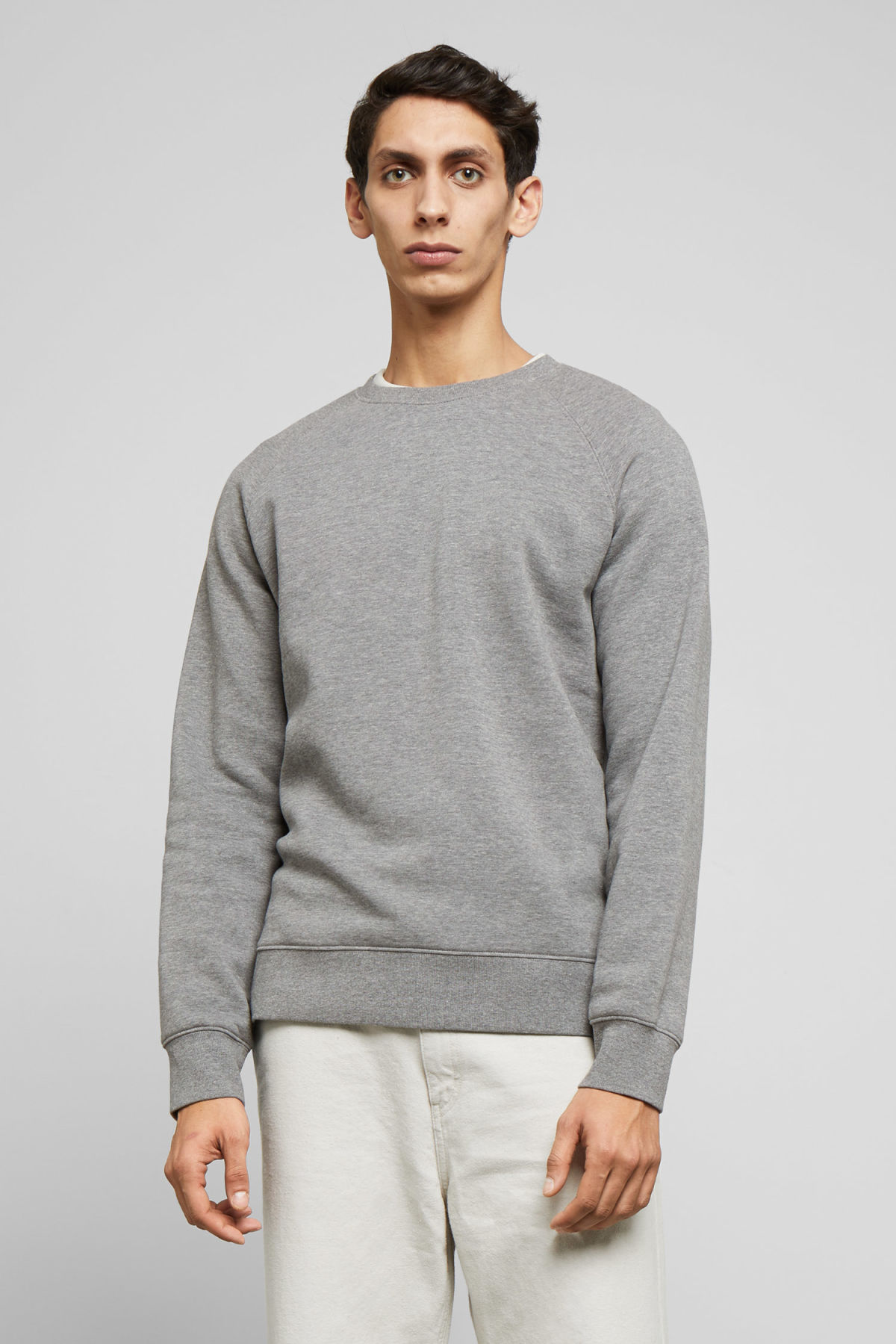 Model front image of Weekday paris sweatshirt in grey