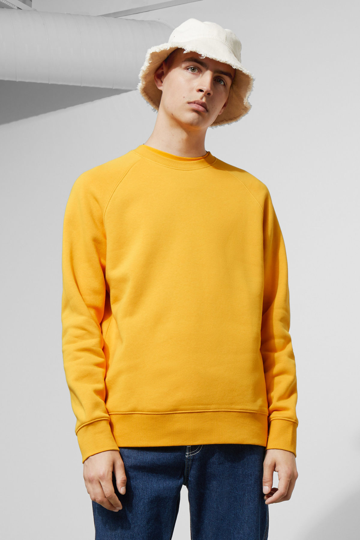 Model front image of Weekday paris sweatshirt in yellow