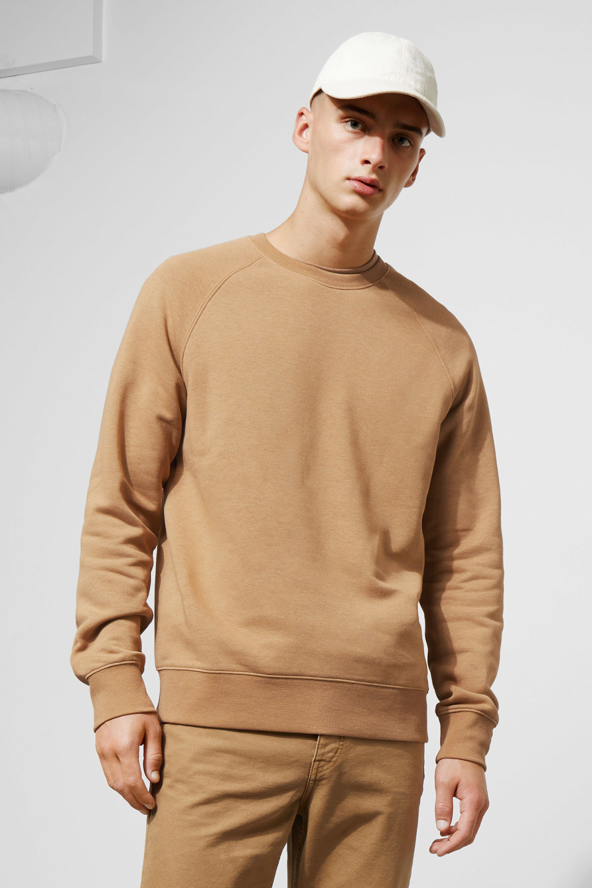 Model front image of Weekday paris sweatshirt in beige