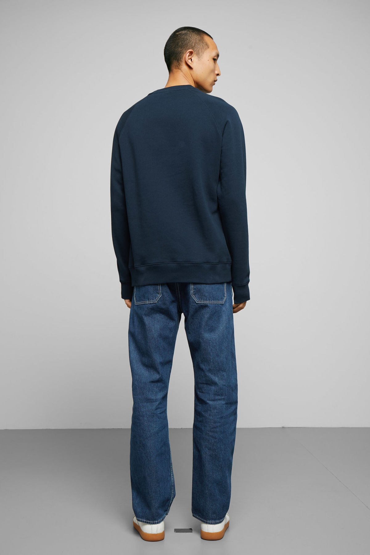 Model back image of Weekday paris sweatshirt in blue