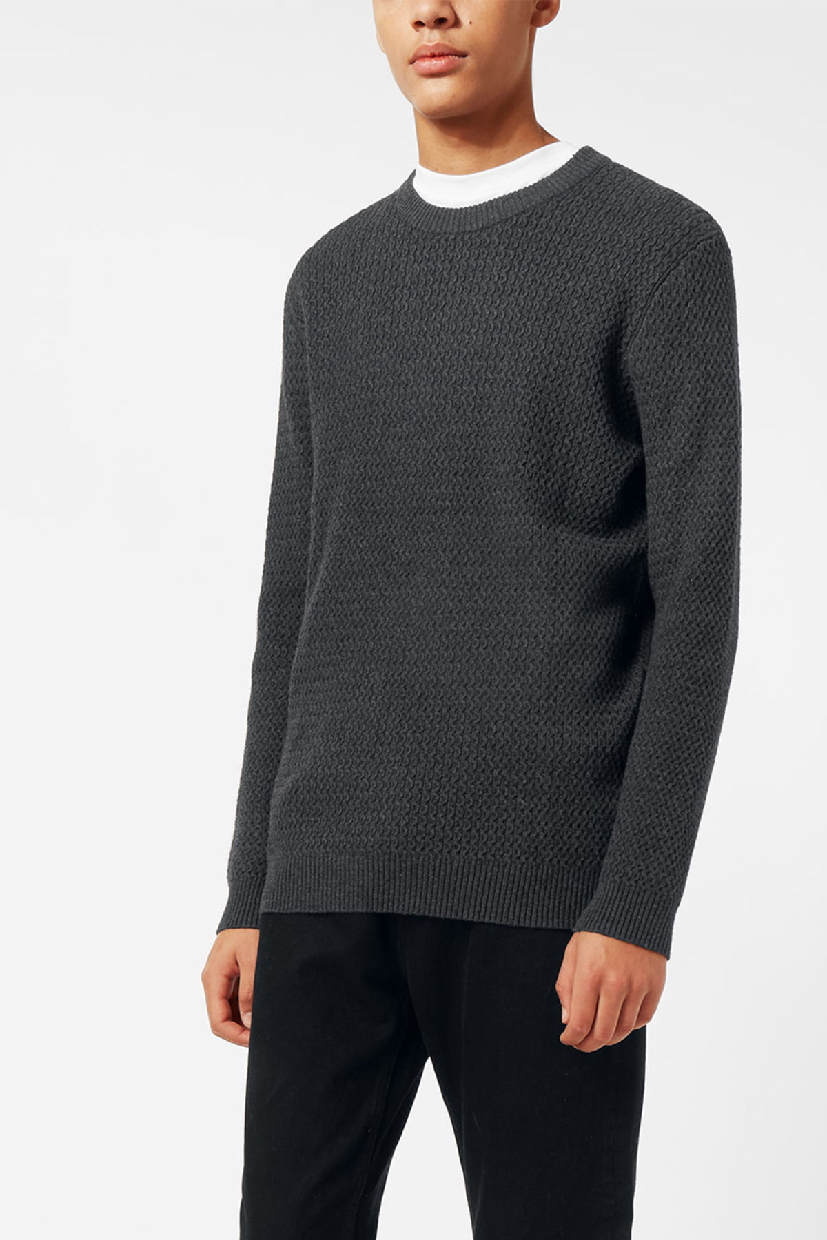 Model front image of Weekday john knit sweater in grey