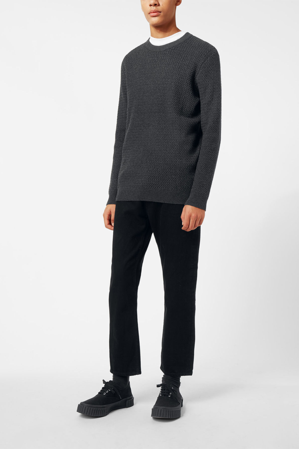 Model side image of Weekday john knit sweater in grey
