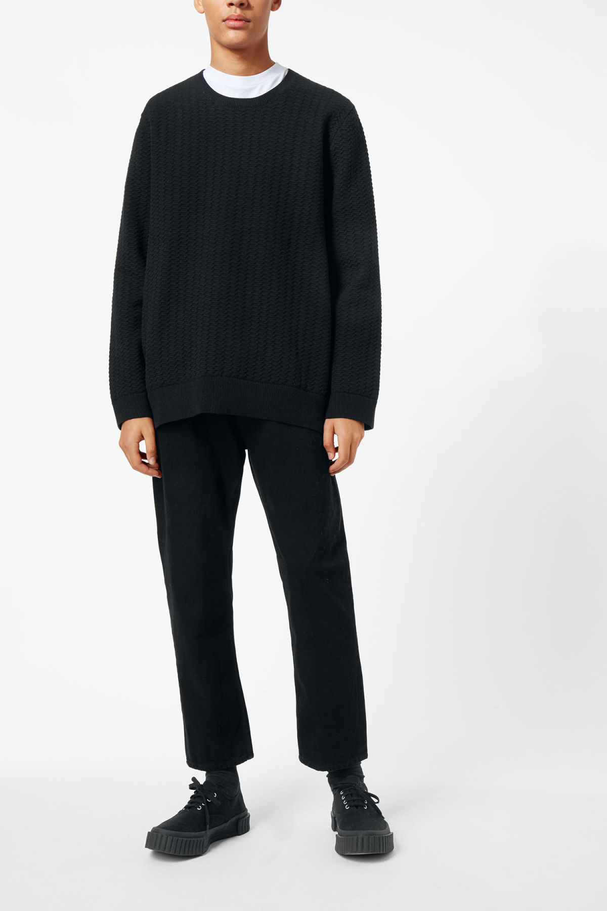 Model side image of Weekday john knit sweater in black