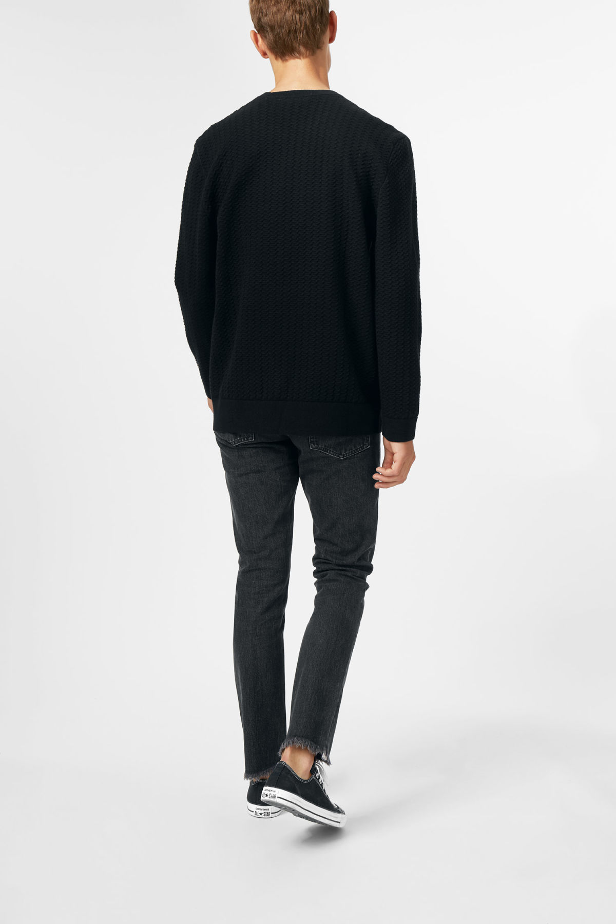 Model back image of Weekday john knit sweater in black