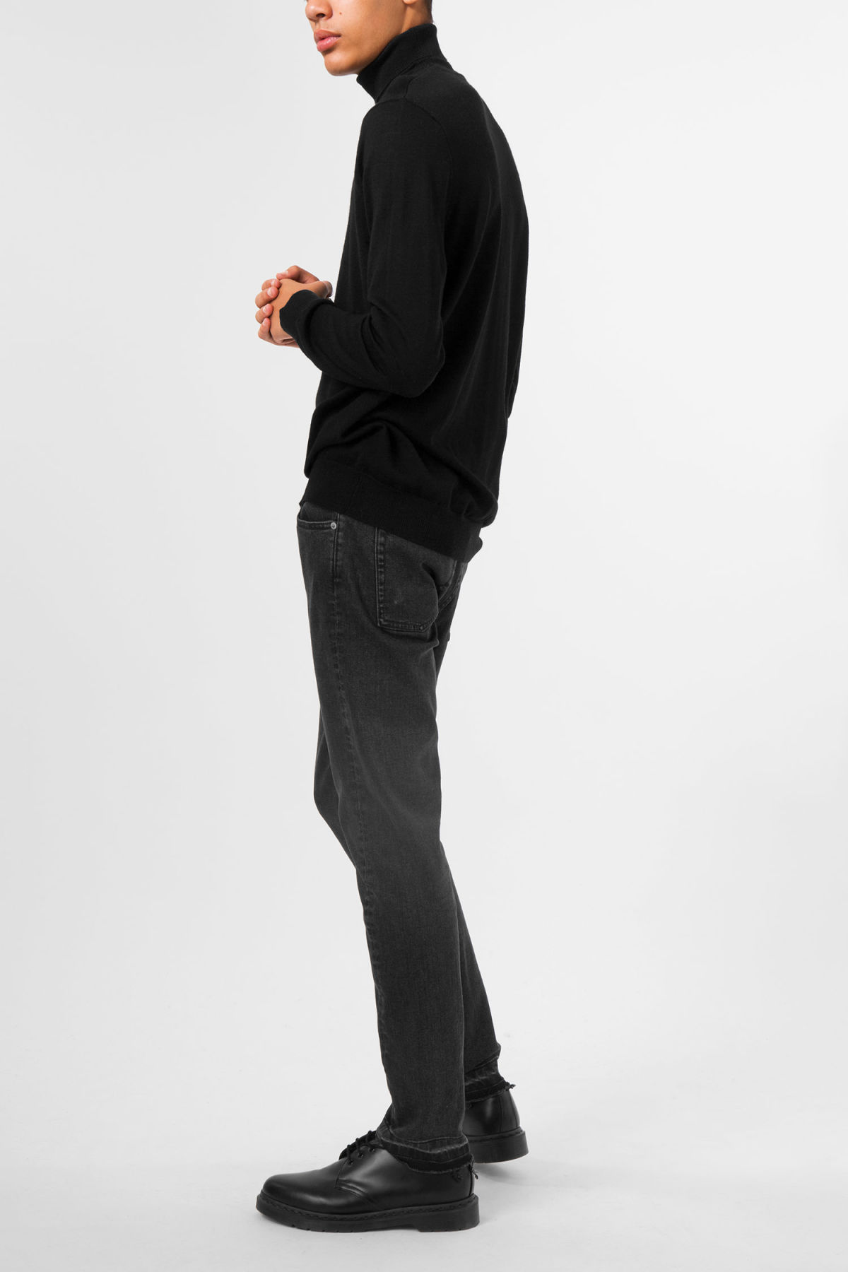 Model side image of Weekday connor turtleneck in black