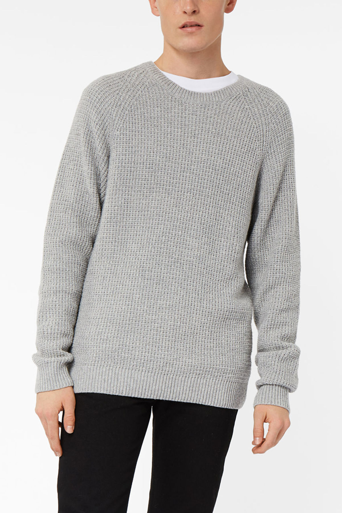Model front image of Weekday parker waffle sweater in grey