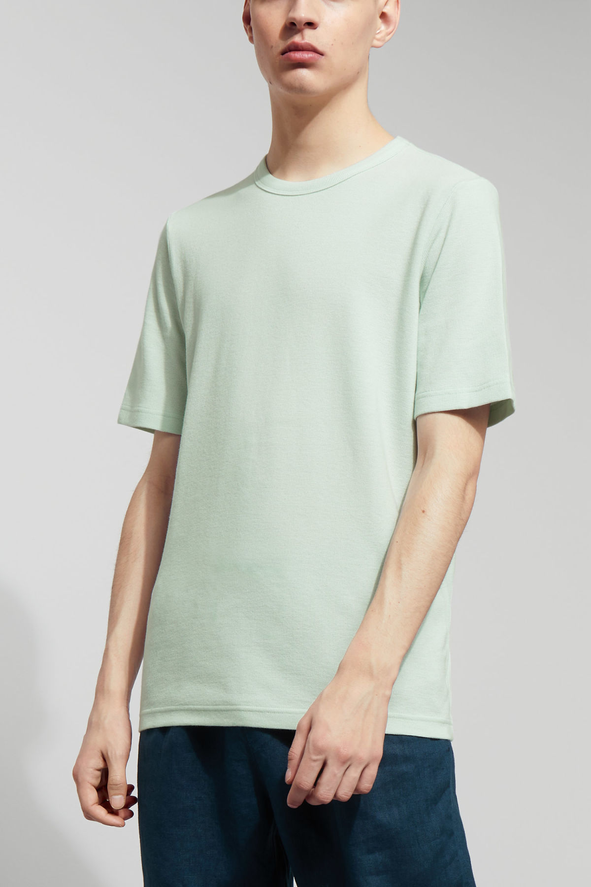 Model front image of Weekday grinko t-shirt in turquoise