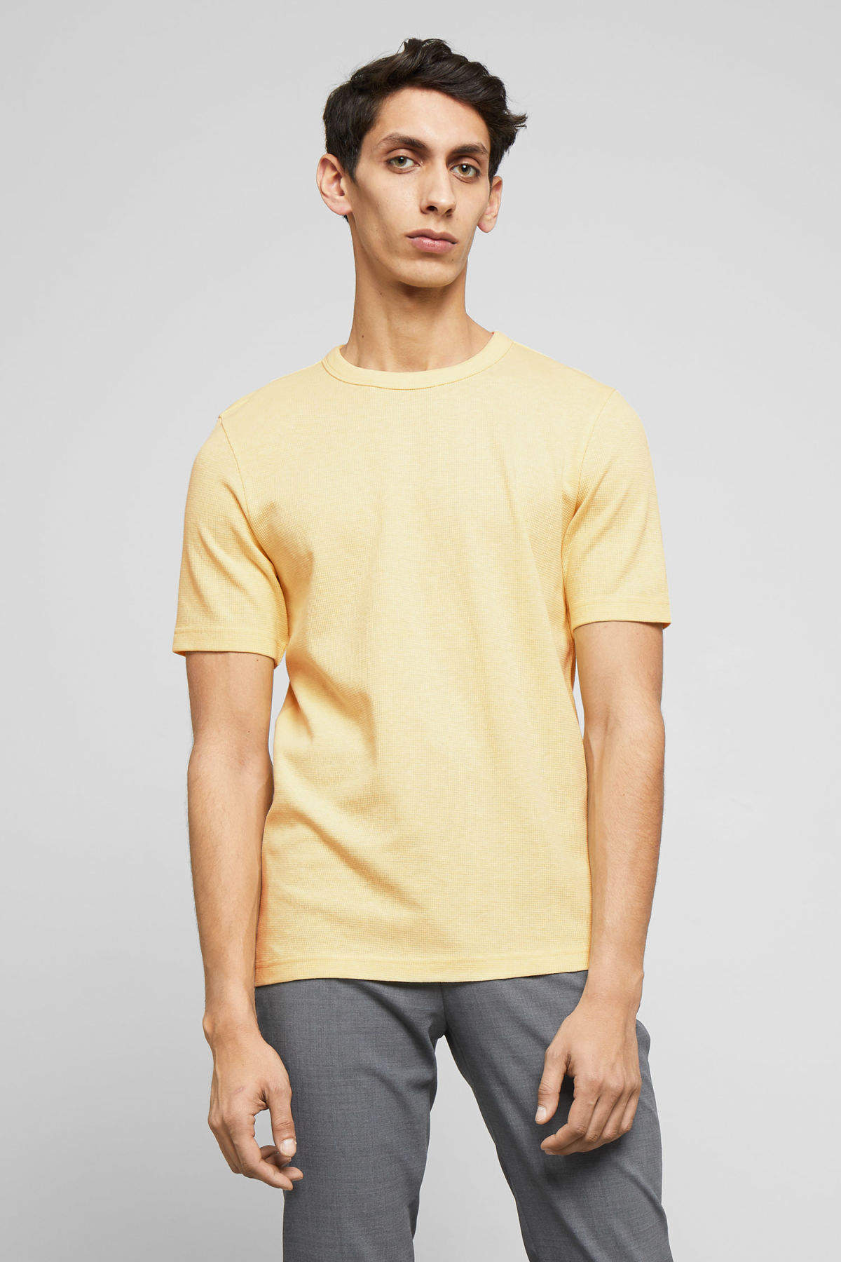 Model front image of Weekday grinko t-shirt in yellow