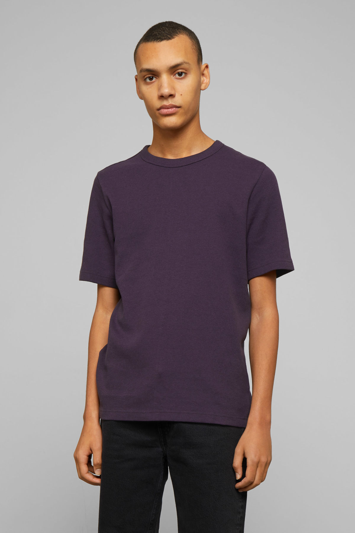 Model front image of Weekday grinko t-shirt in purple