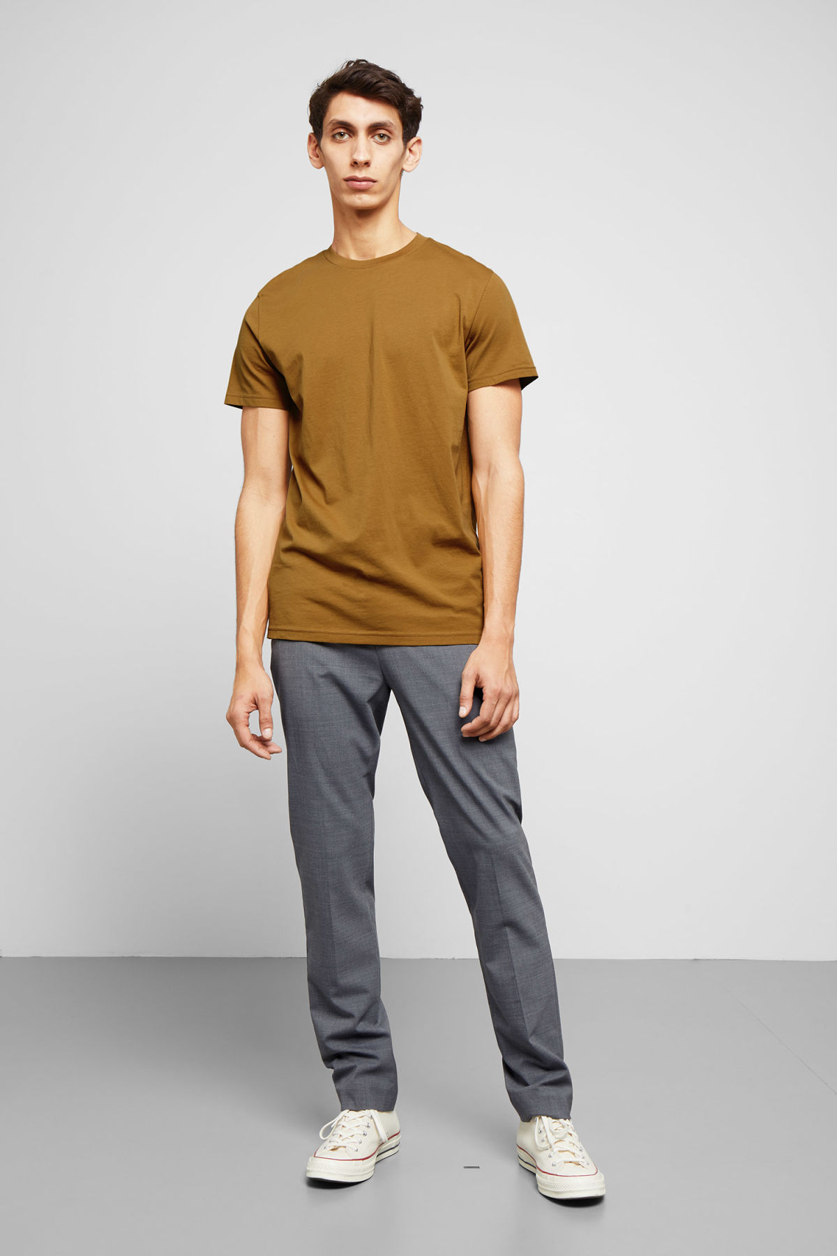 Model side image of Weekday alan t-shirt in yellow