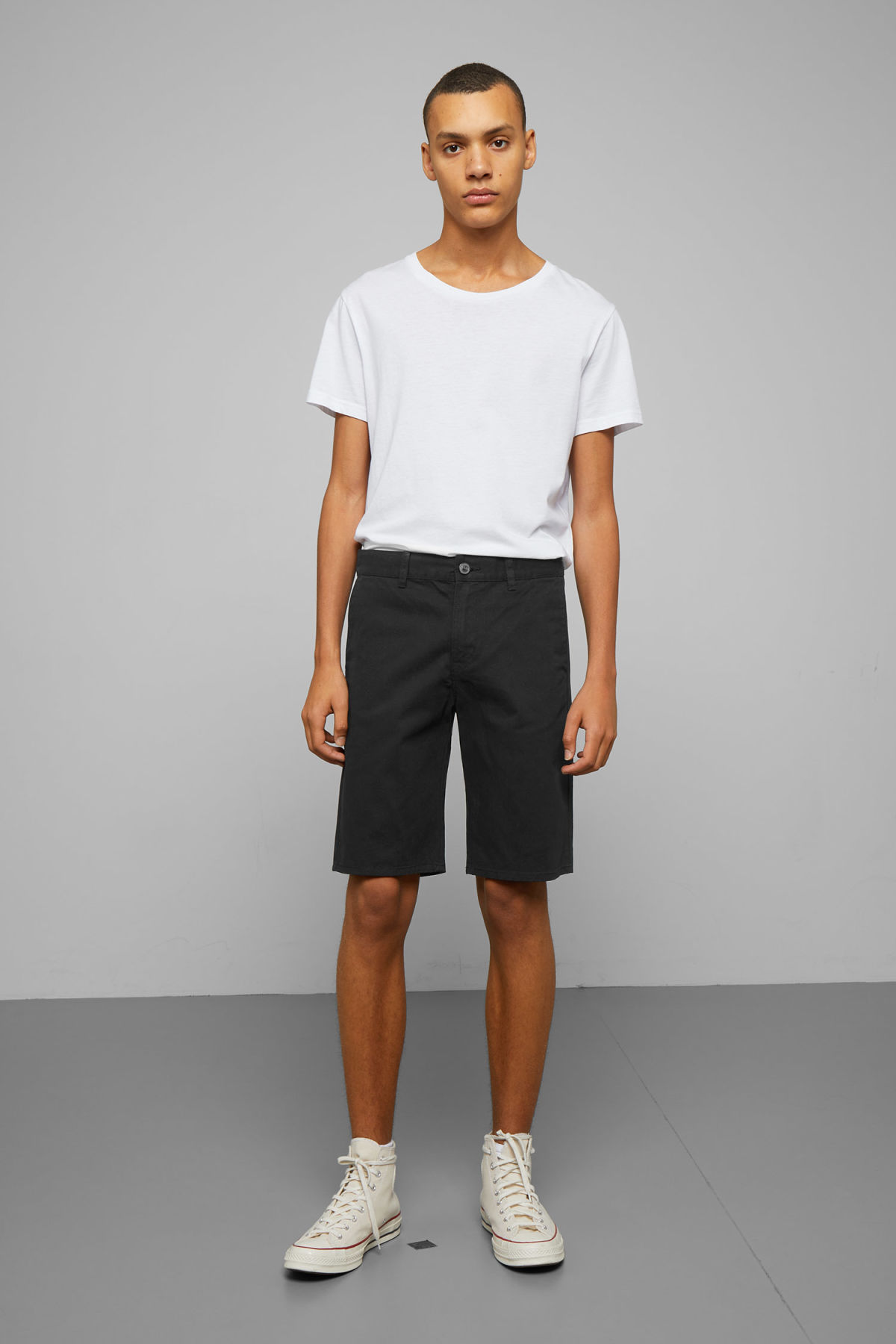 Model front image of Weekday acid shorts in black
