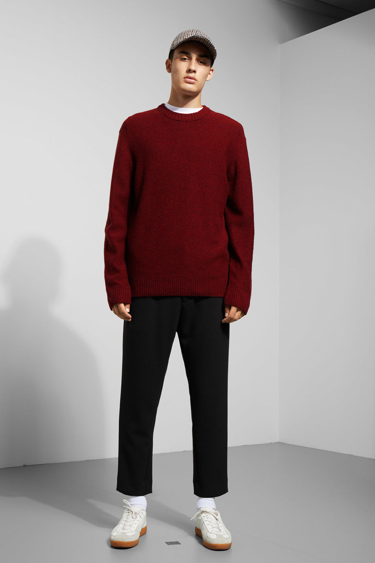 Model side image of Weekday knit sweater  in red