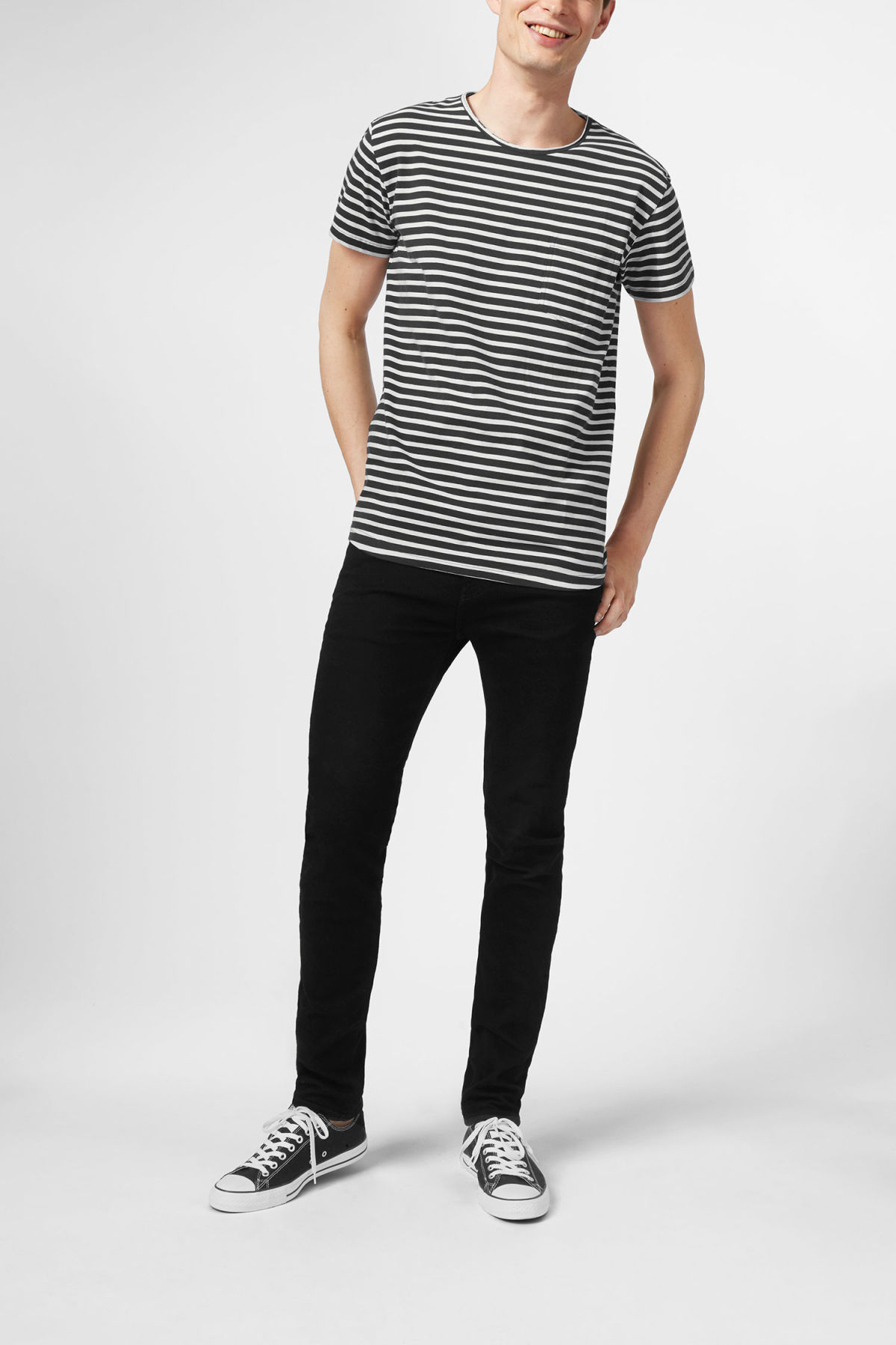 Model front image of Weekday rumour striped t-shirt in grey