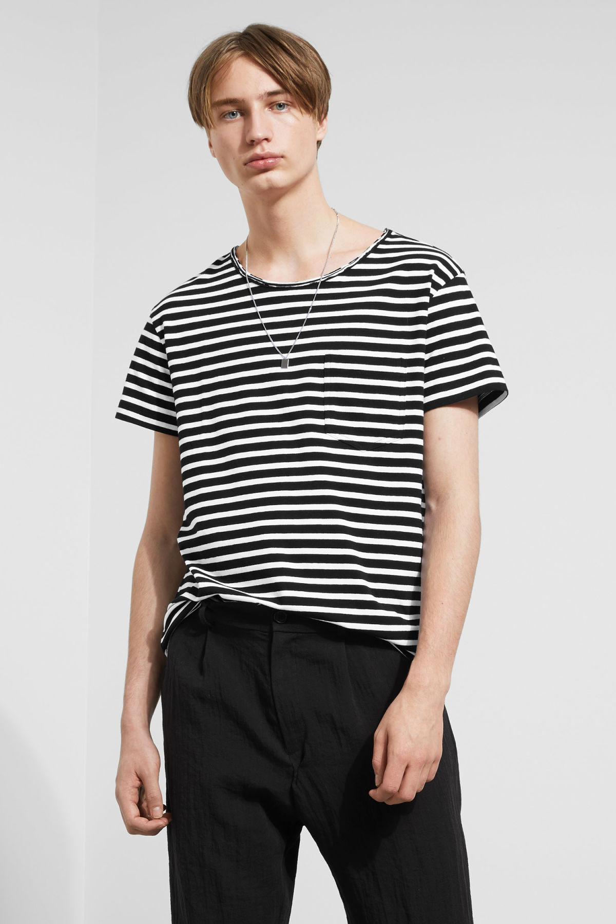 Model front image of Weekday rumour striped t-shirt in black