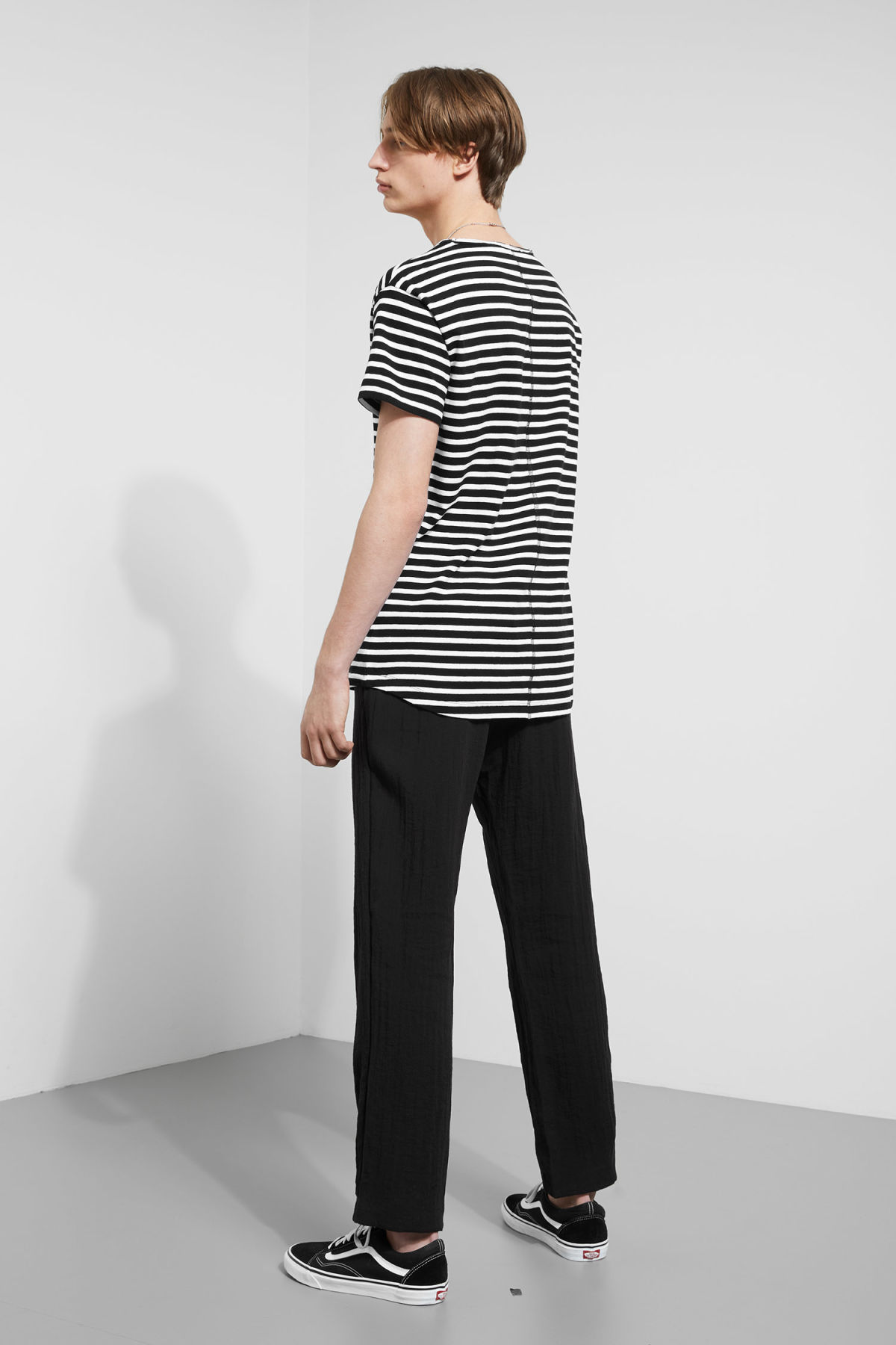 Model back image of Weekday rumour striped t-shirt in black