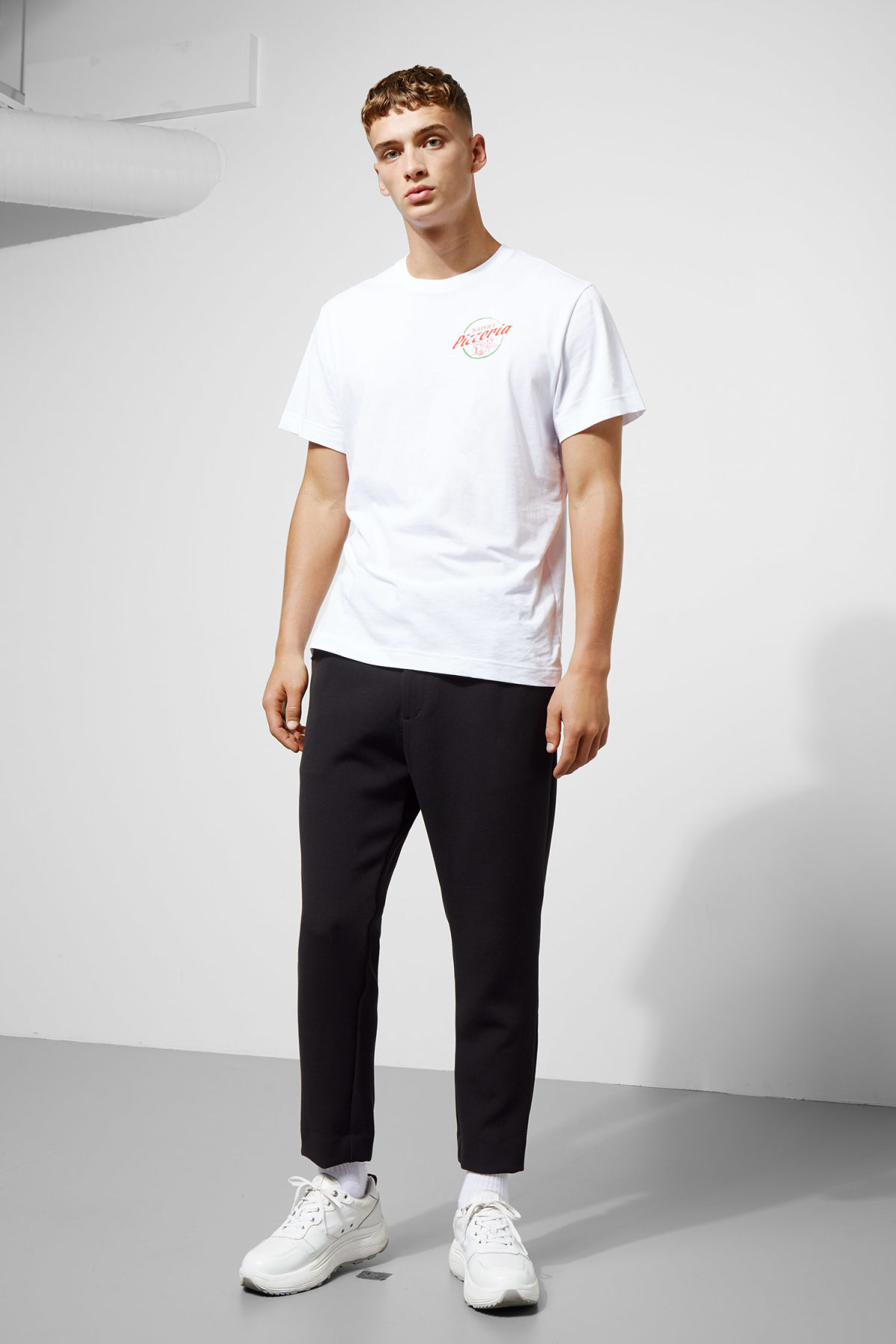 Model front image of Weekday mard trousers in black