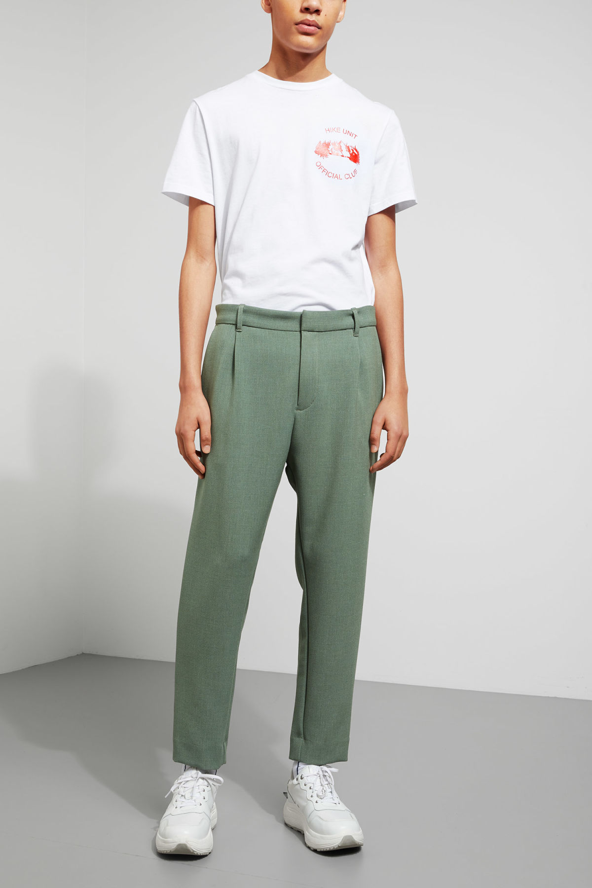 Model front image of Weekday mard trousers in green