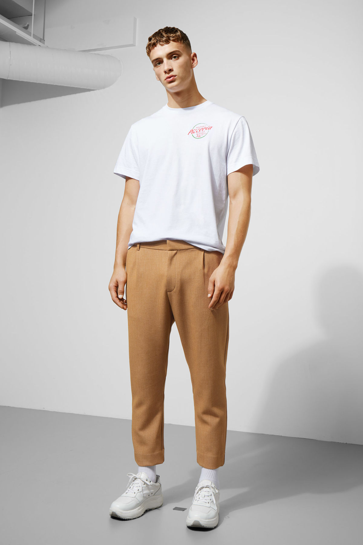 Model front image of Weekday mard trousers in beige