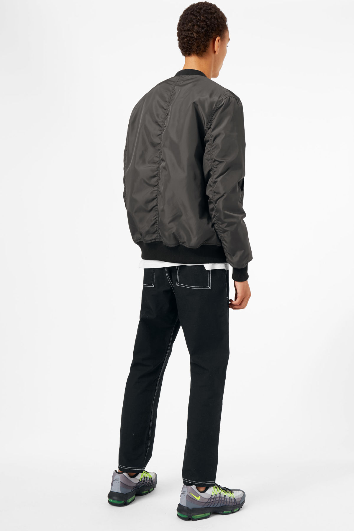 Model back image of Weekday mission bomber in grey
