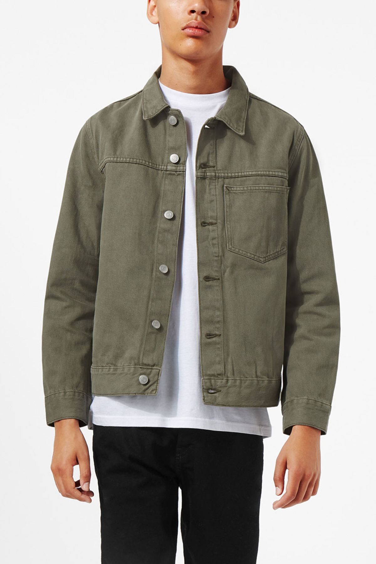 Model front image of Weekday core denim jacket  in green