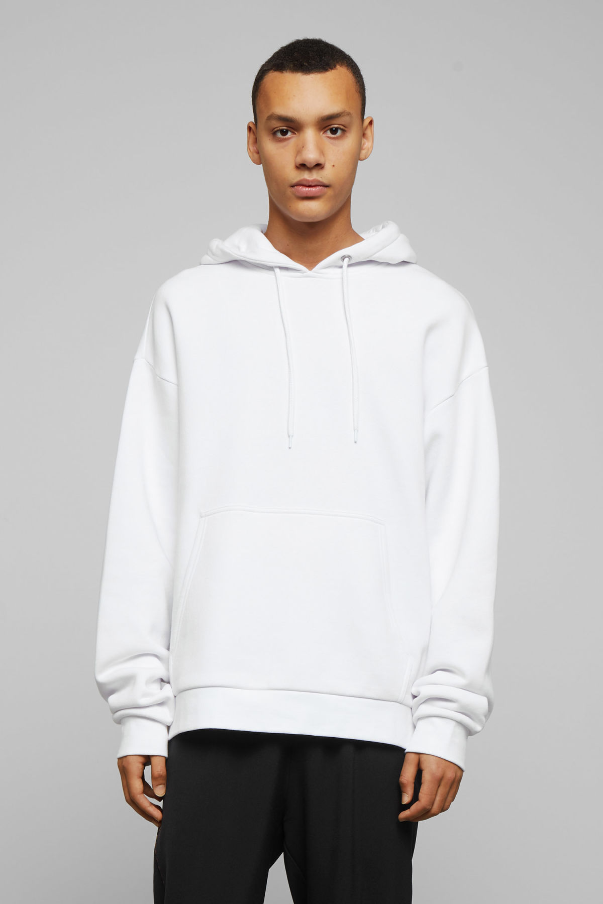 Model front image of Weekday big hawk hoodie in white