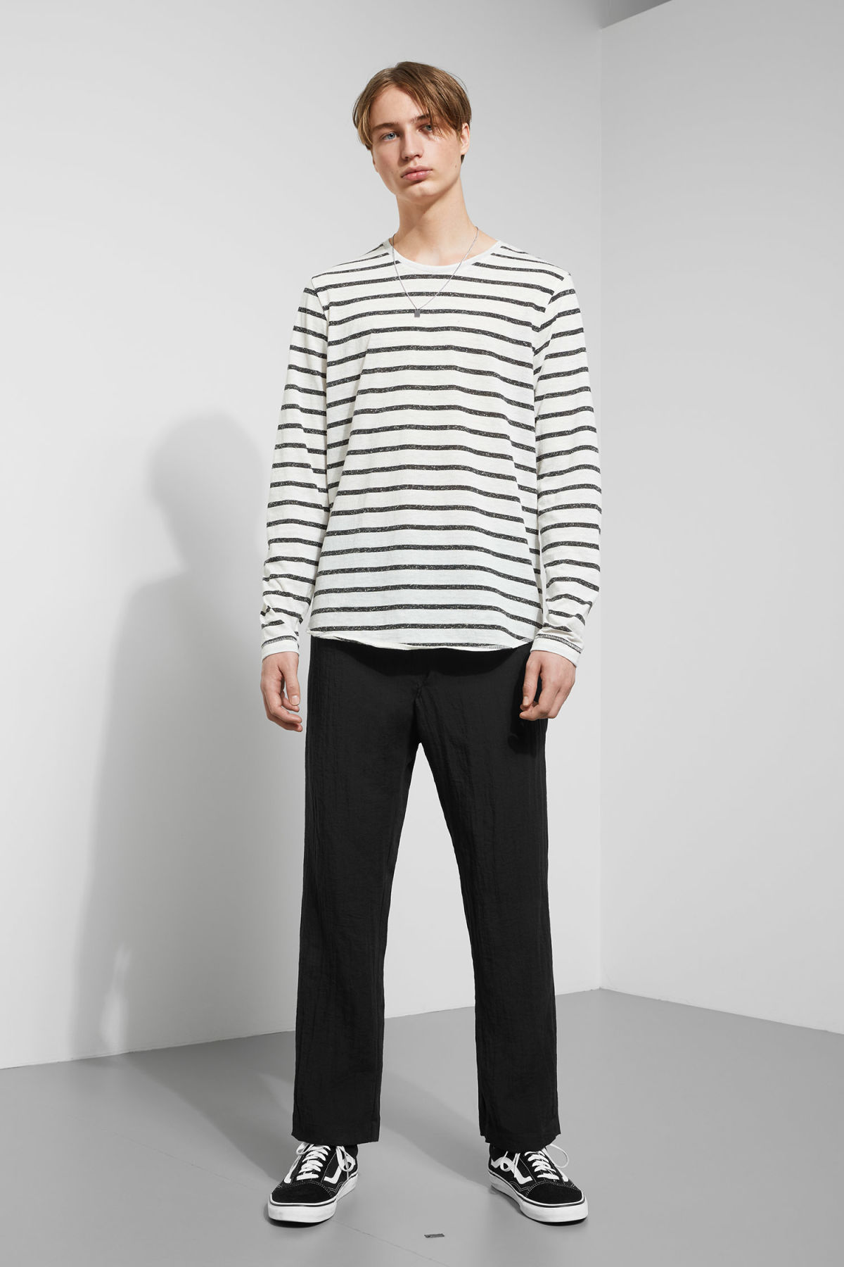 Model side image of Weekday boule long sleeve in black