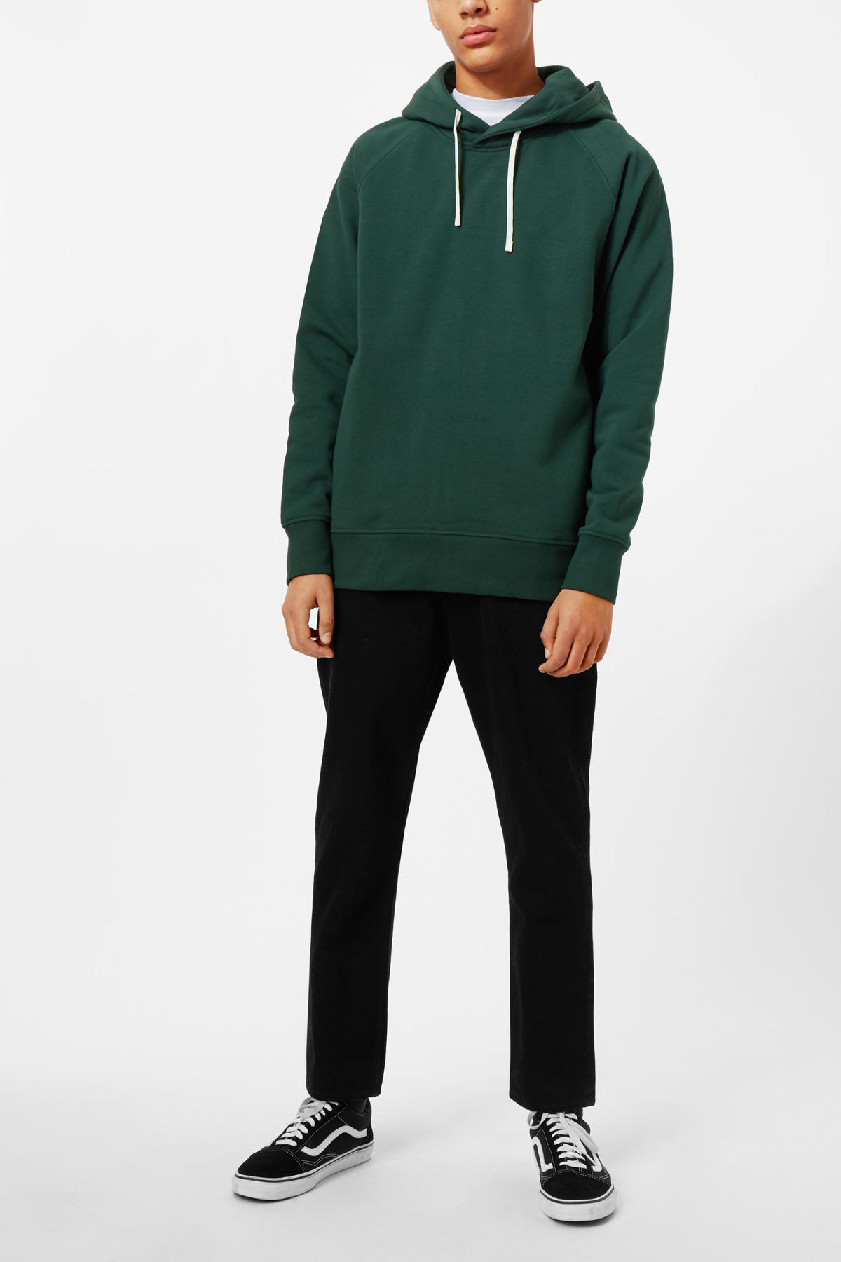 Model side image of Weekday there hoodie in turquoise