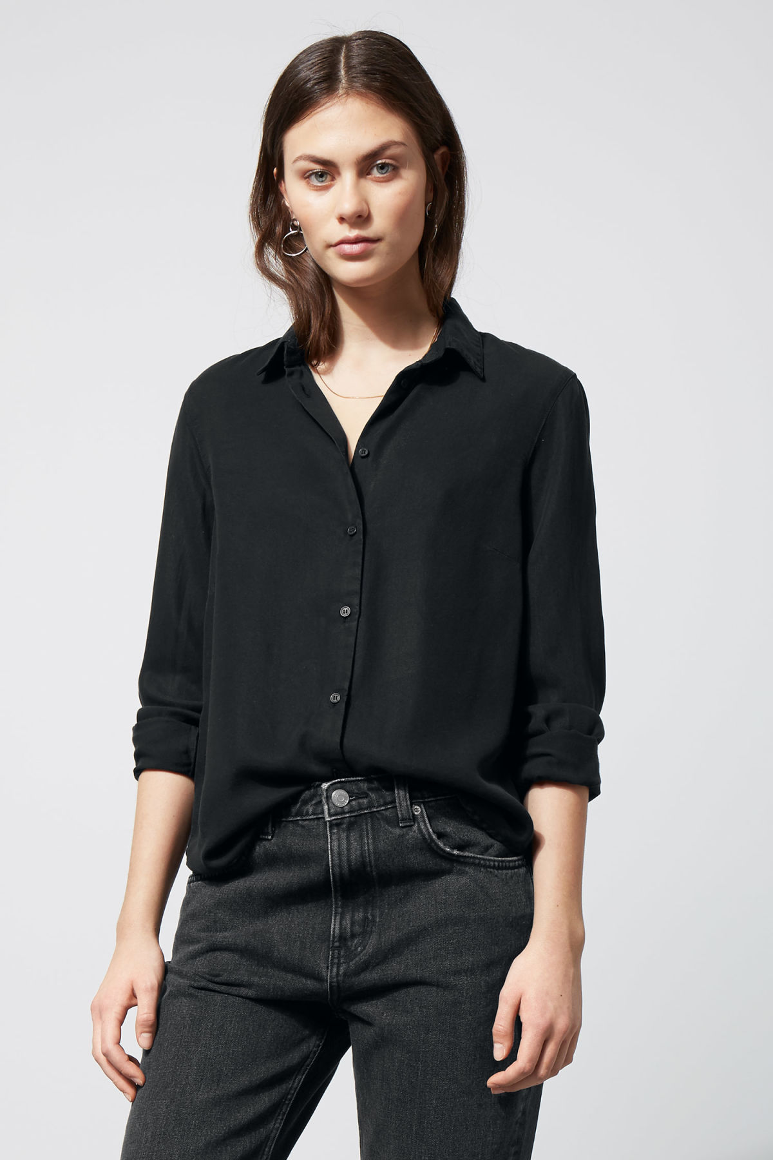 Slim Denim Shirt - Black - Shirts & blouses - Weekday
