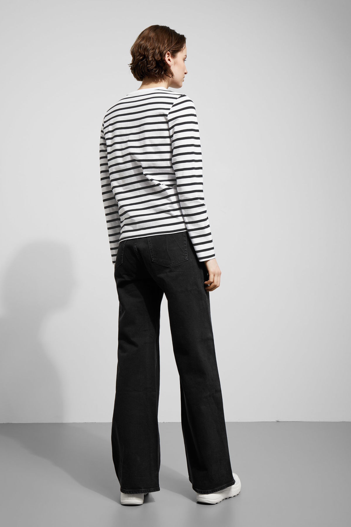 Model back image of Weekday kate striped long sleeve in black