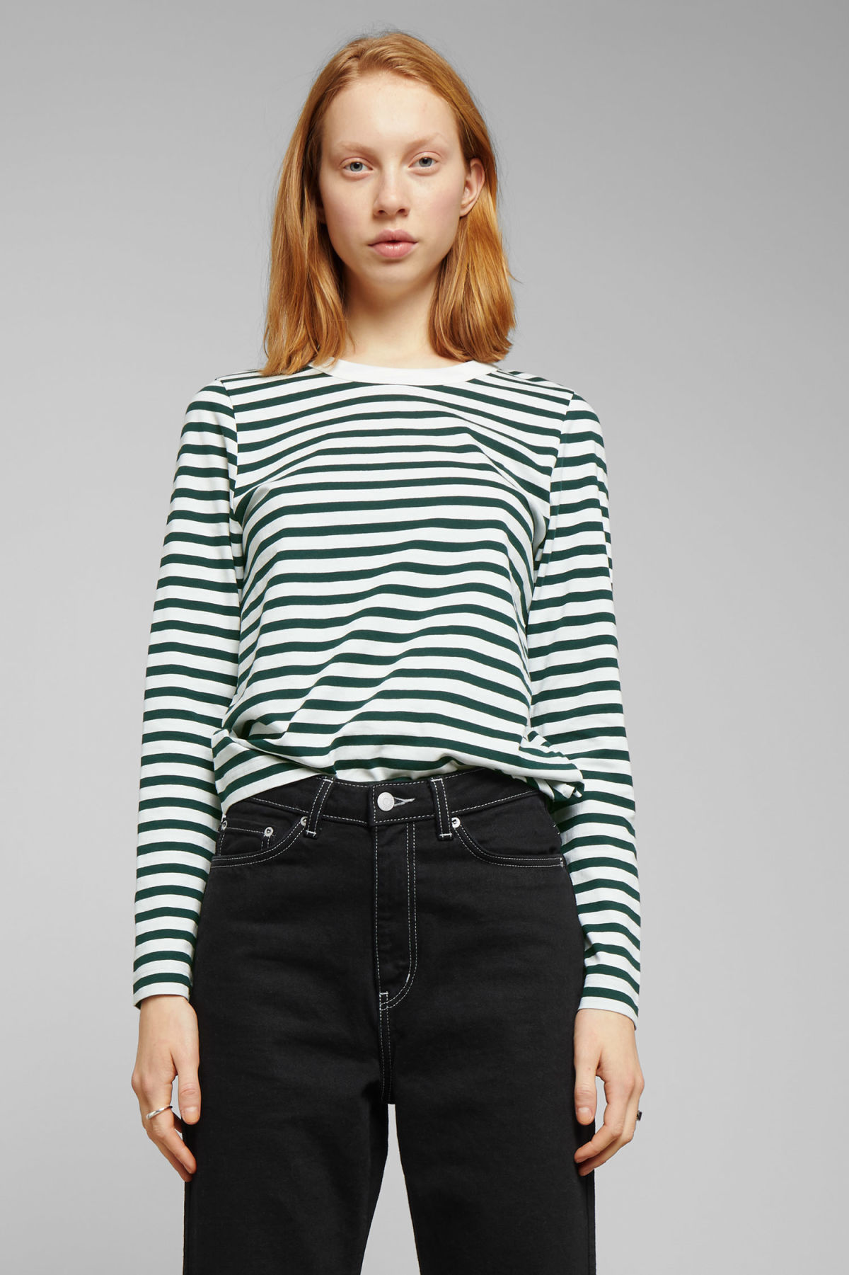 Model front image of Weekday kate striped long sleeve in green