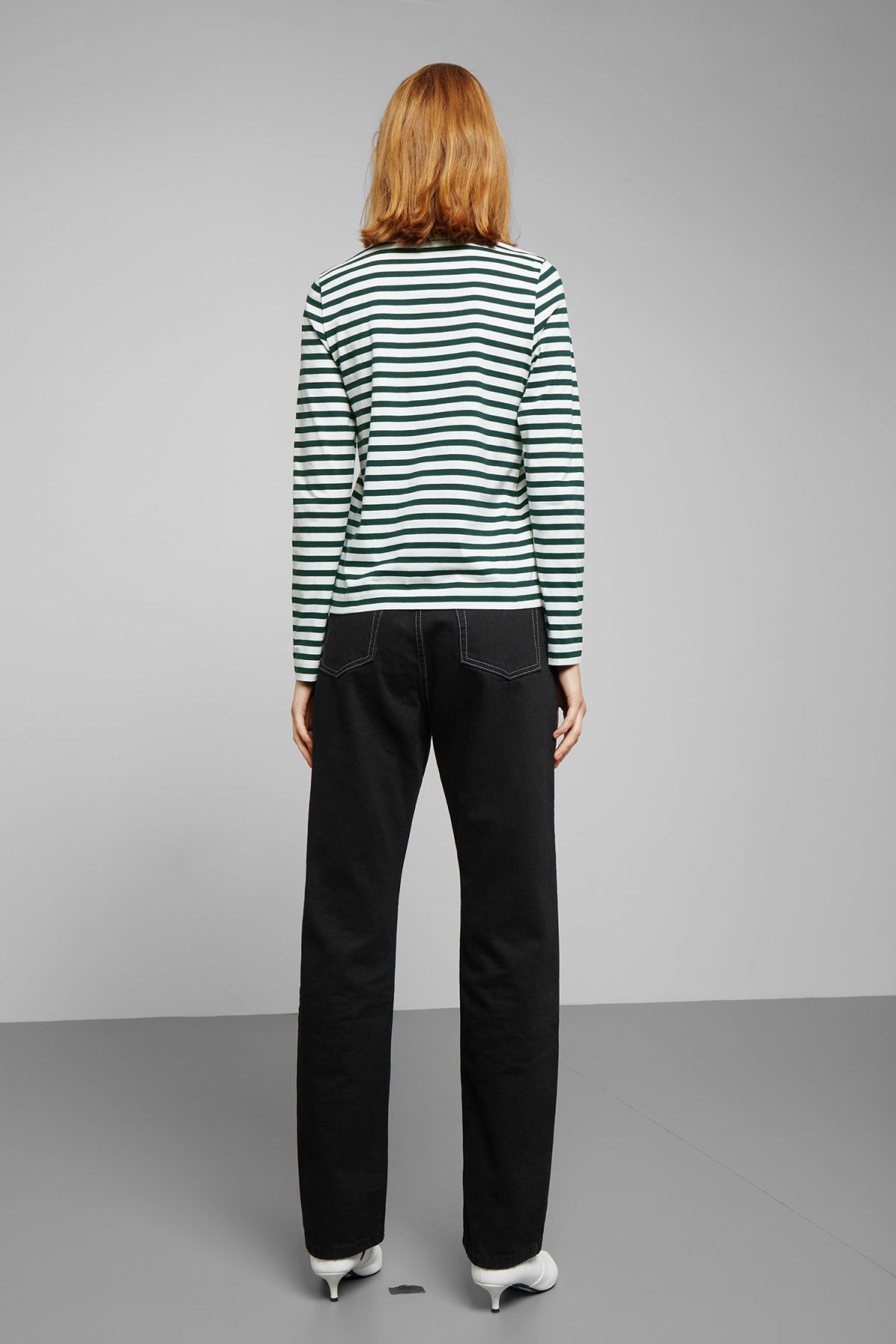 Model back image of Weekday kate striped long sleeve in green