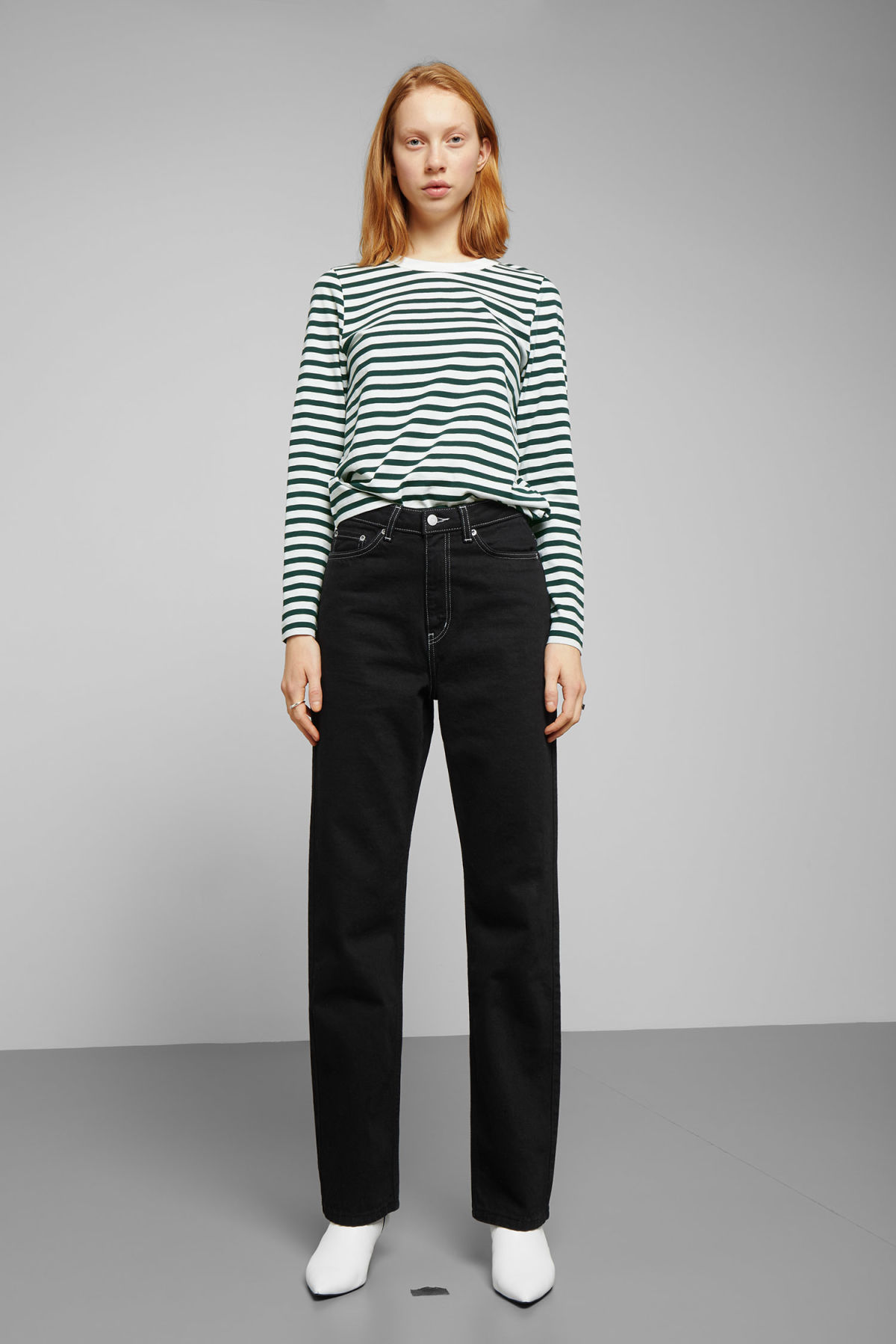 Model side image of Weekday kate striped long sleeve in green