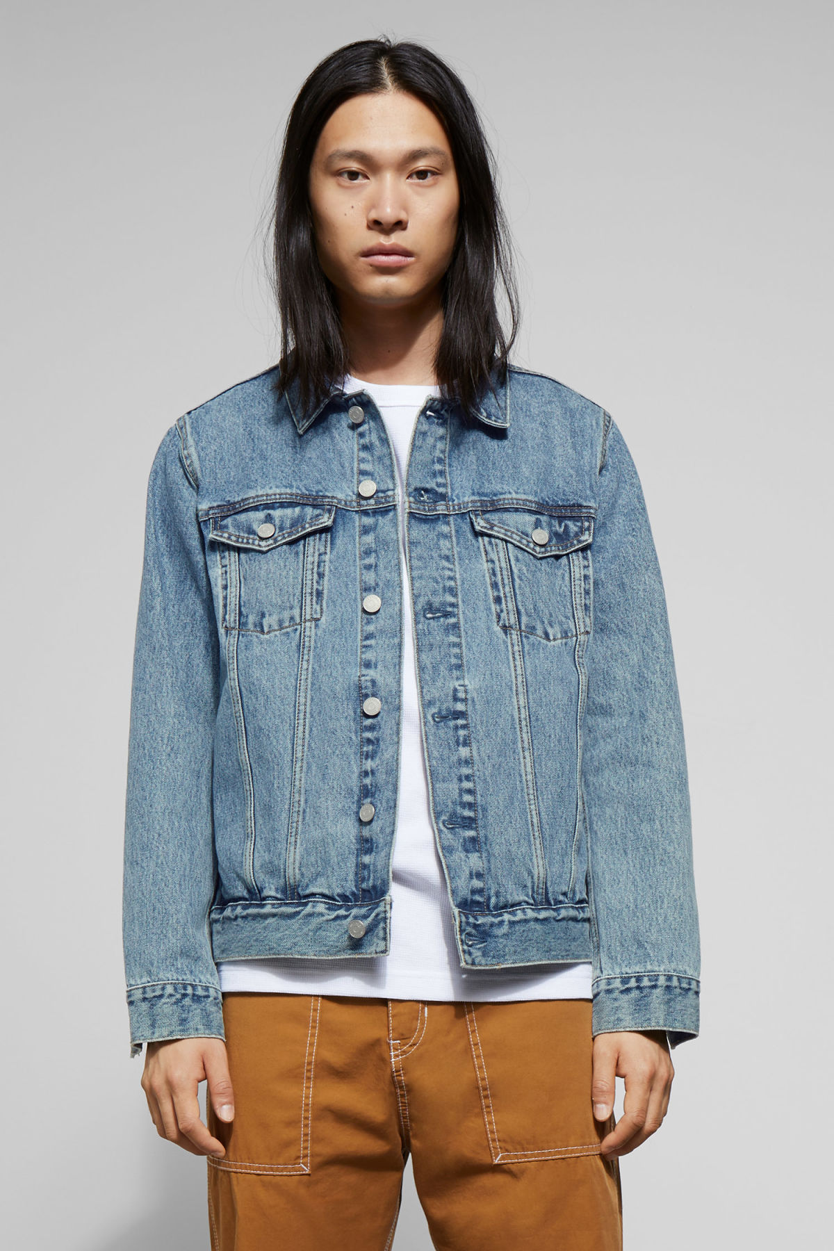 Model front image of Weekday single wd blue jacket  in blue