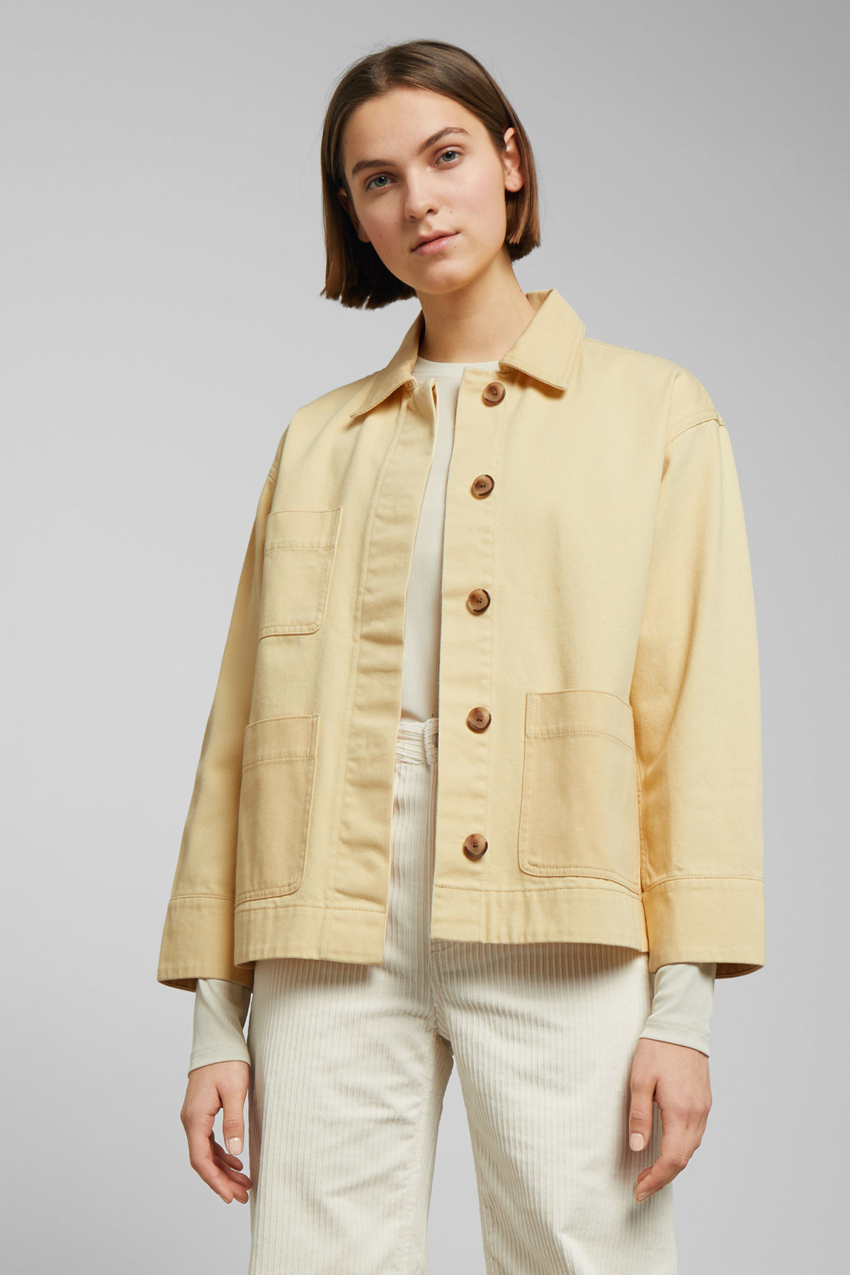 Model front image of Weekday ina jacket in yellow