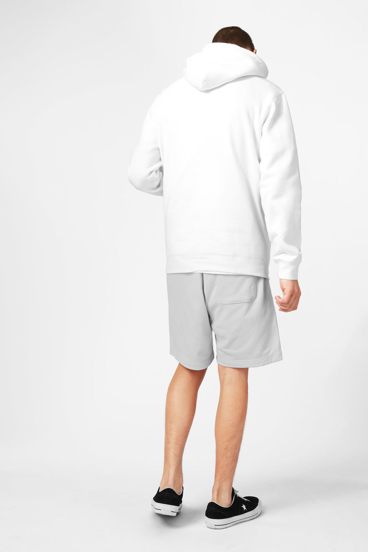 Model back image of Weekday hawk hoodie in white