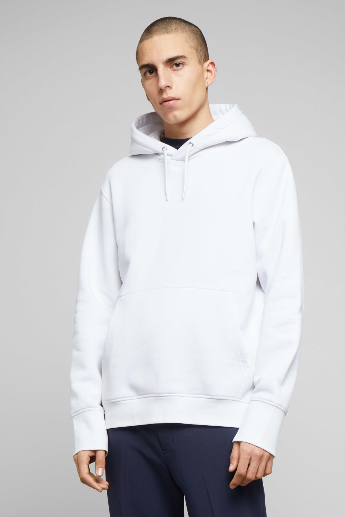 Model front image of Weekday hawk hoodie in white