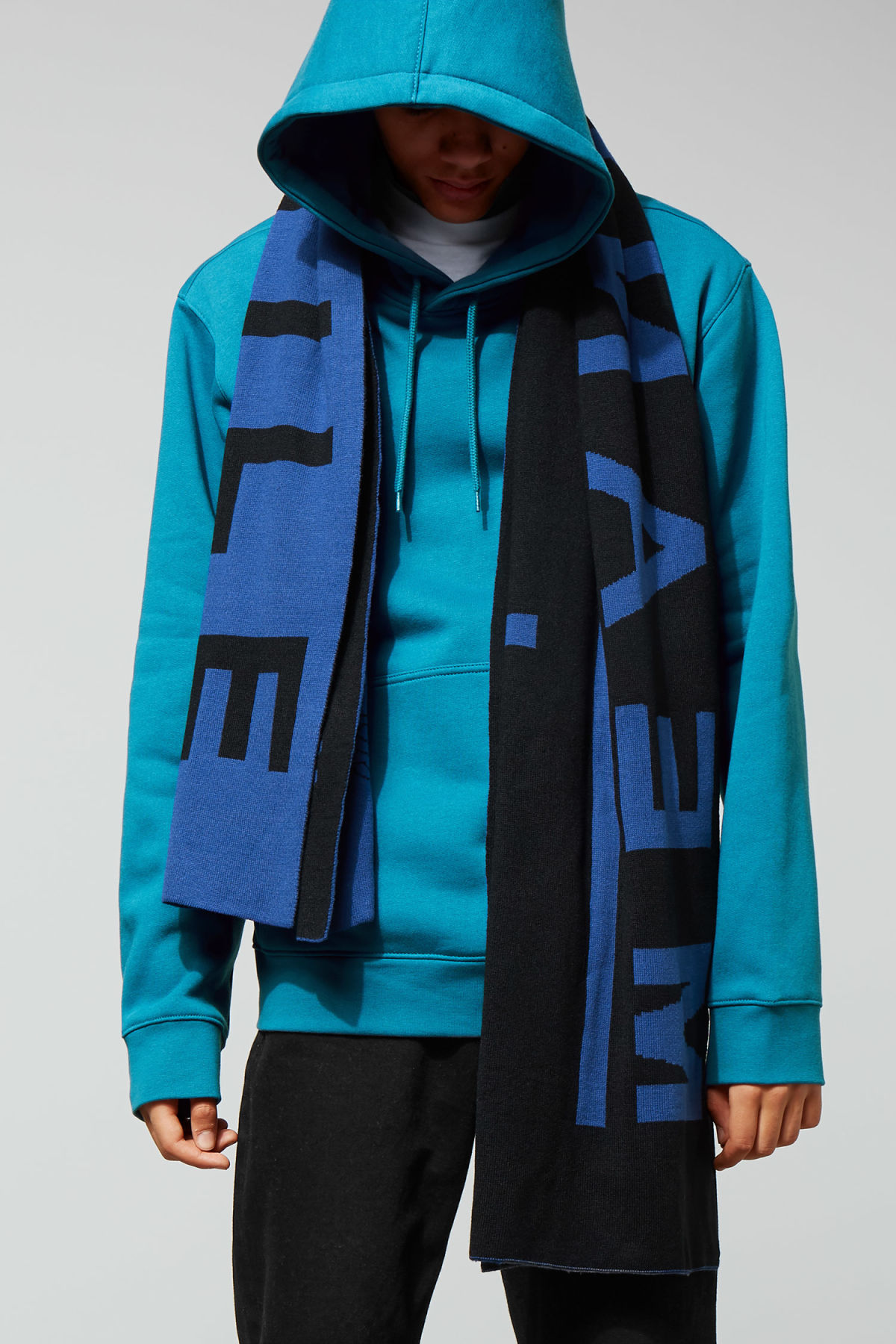 Model back image of Weekday hawk hoodie in turquoise