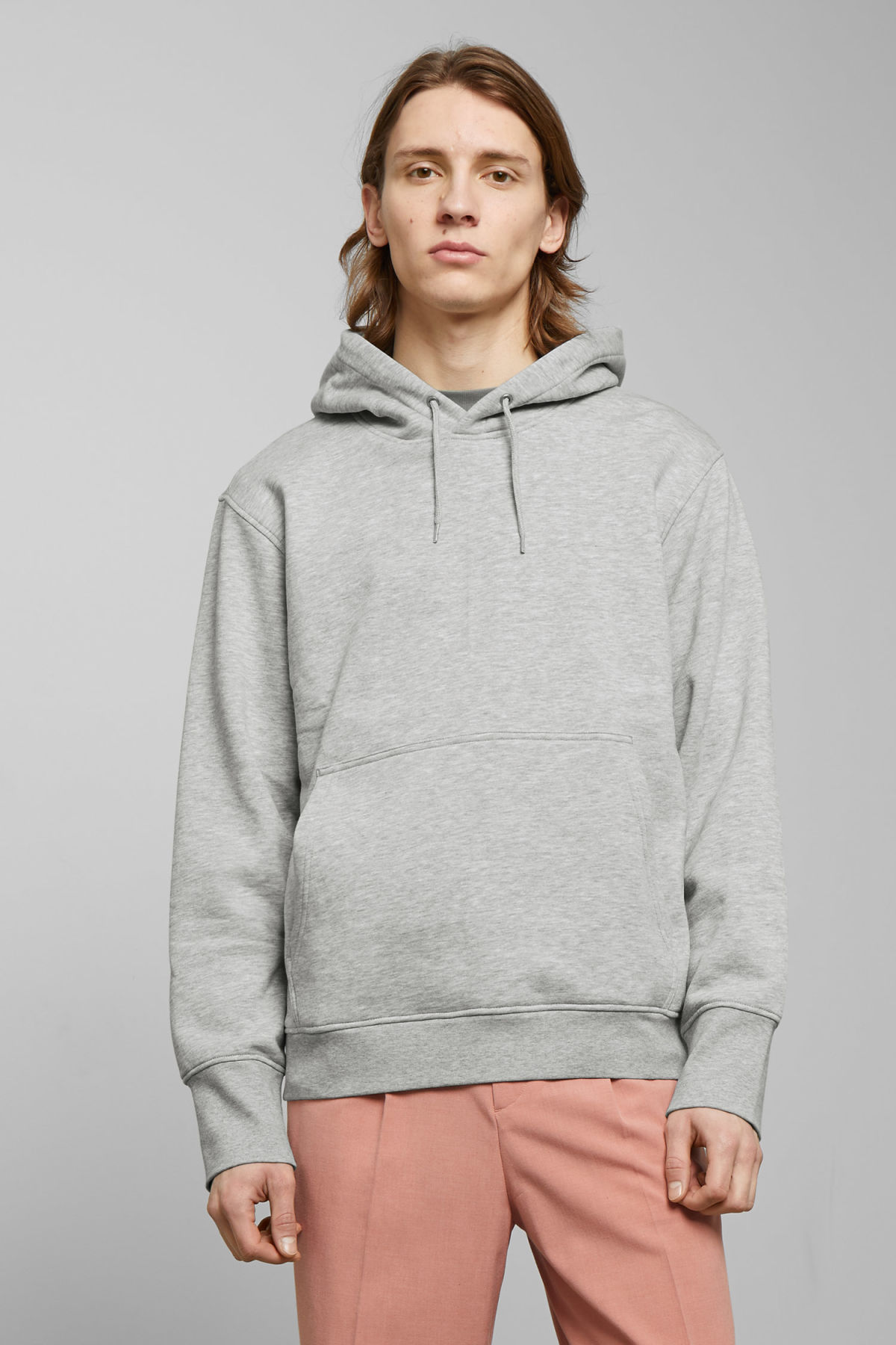 Model front image of Weekday hawk hoodie in grey