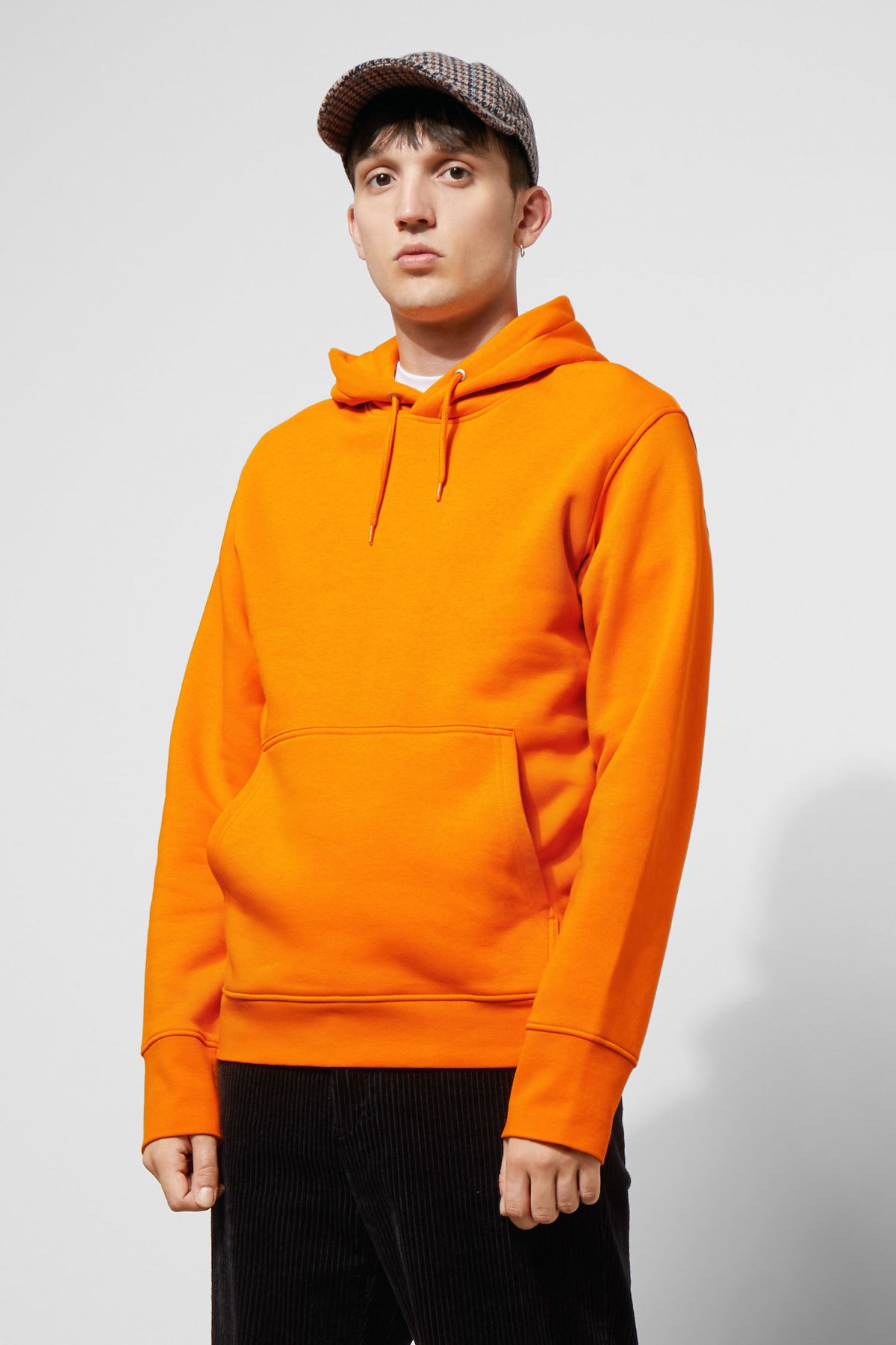 Model front image of Weekday hawk hoodie in orange
